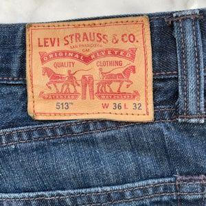 LEVI'S 513 {36W/32L} Jeans Slim Straight Dk Blue